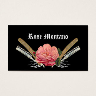 Vintage Rose Hair Razor Black Stylist Card