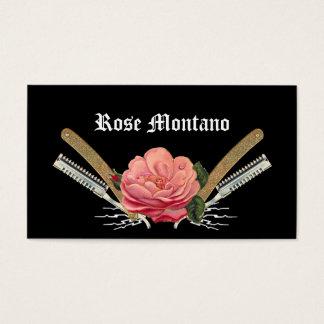 Vintage Rose Hair Razor Black Stylist Card