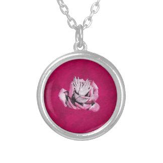 Vintage Rose Hands Nails Grunge Round Pendant Necklace