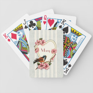 Vintage Rose Heart Bicycle® Playing Cards