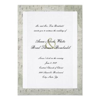 Vintage Rose Inverted Music Wedding Invitation