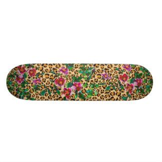 Vintage Rose - leopard print Skateboard Deck