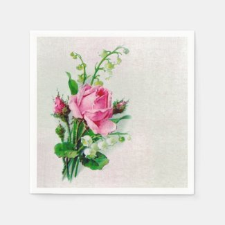 Vintage Rose Lily of the Valley Paper Napkins