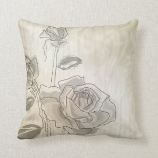 Vintage Rose Lineart American MoJo Pillow