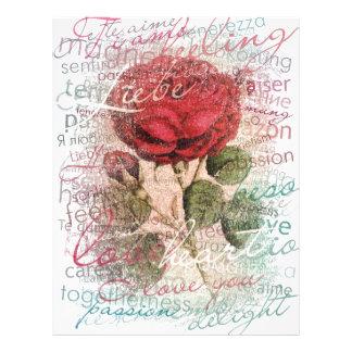 Vintage Rose Love you Letterhead