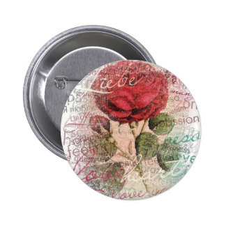Vintage Rose Love you Pinback Button