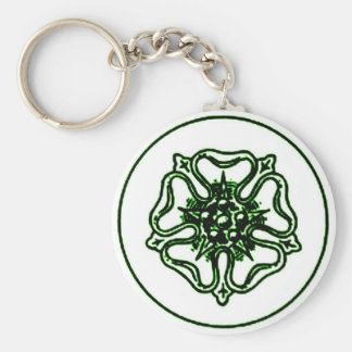 VINTAGE ROSE MEDALLION in Green Tint Keychain
