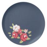 Vintage Rose Melamine Dinner Plate