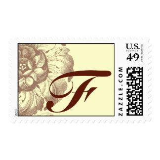Vintage Rose Monogram F Stamps
