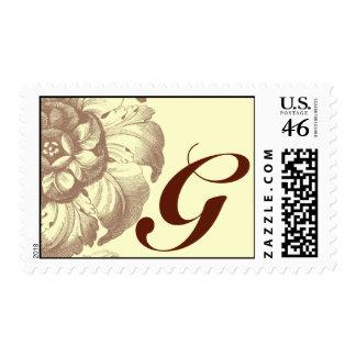 Vintage Rose Monogram G Stamps
