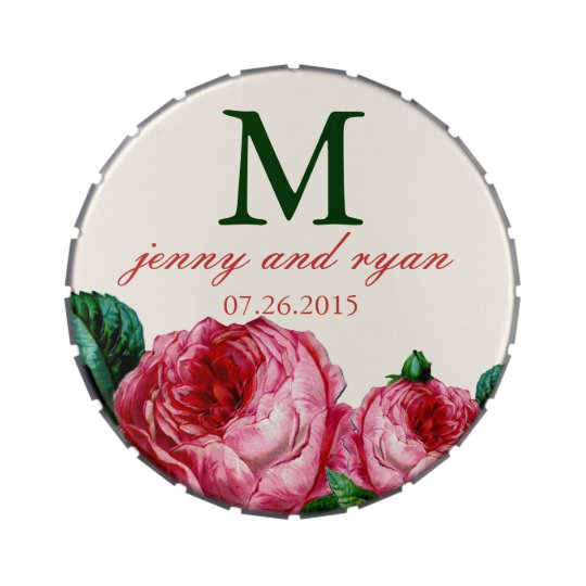 Vintage Rose Monogram Jelly Belly Tin