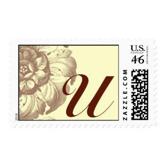 Vintage Rose Monogram U Postage Stamp