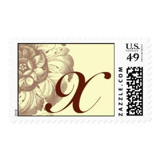 Vintage Rose Monogram X Stamp