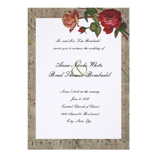 Vintage Rose Music Wedding Invitation Zazzle