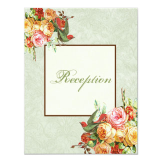 Vintage Rose n birds Reception Invitation Card