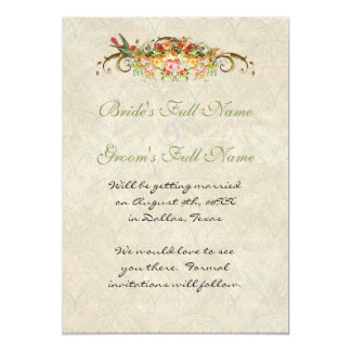 """Vintage Rose n birds,  Save The Date Announcement 5"""" X 7"""" Invitation Card"""
