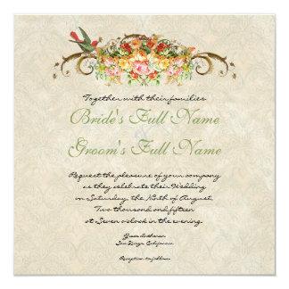 "Vintage Rose n birds,  Wedding Invitation 5.25"" Square Invitation Card"
