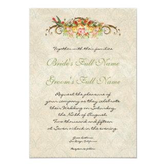 "Vintage Rose n birds,  Wedding Invitation 5"" X 7"" Invitation Card"