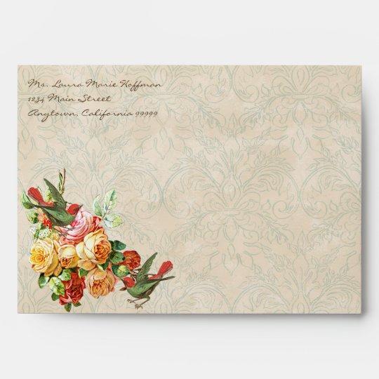 Vintage Rose n birds,  Wedding Invite Envelopes