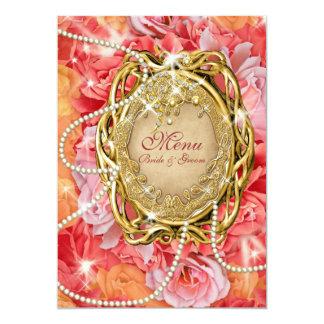 Vintage rose n pearls wedding menu custom invite