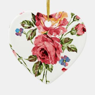 Vintage Rose Paper Ceramic Ornament