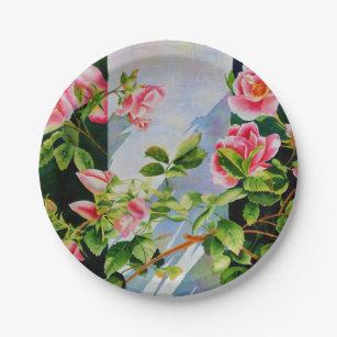 Vintage Floral Peonies Plates | Zazzle