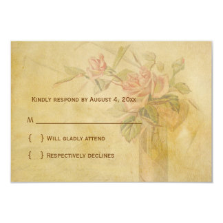 Vintage Rose Parchment RSVP Card