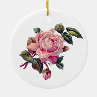 Vintage Rose Pattern and Single Rose on White Double-Sided Ceramic Round Christmas Ornament