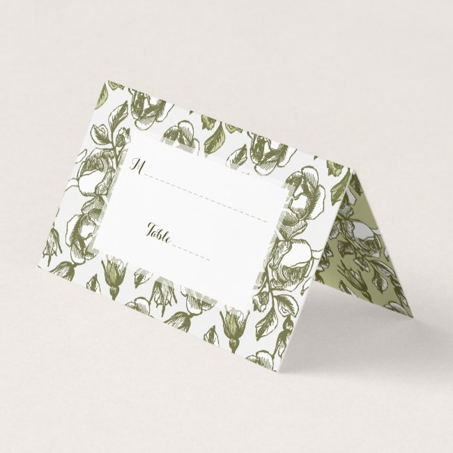 Vintage Rose Pattern in Golds Custom Place Cards