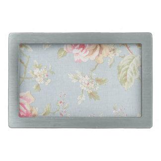 vintage rose pattern shabby chic style blue rectangular belt buckles