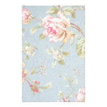 vintage rose pattern shabby chic style blue stationery