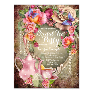 Vintage Rose Pearl Bridal Tea Party Card