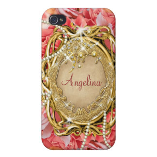 Vintage rose pearls sparkle name iPhone 4 cover