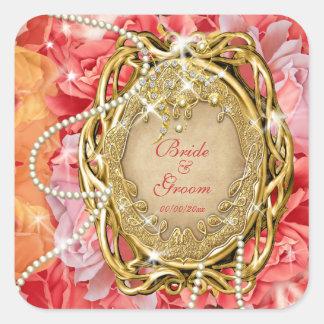 Vintage rose pearls wedding bride groom square sticker