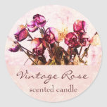 Vintage rose petals - scented candle or soap label classic round sticker