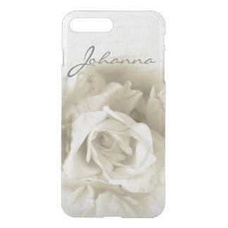 Vintage Rose Photograph With Name Clear iPhone iPhone 8 Plus/7 Plus Case