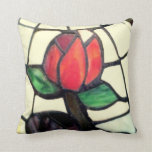 VINTAGE ROSE PILLOW, STAINED GLASS PICTURE