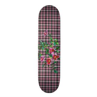Vintage rose pink and black plaid skateboard deck