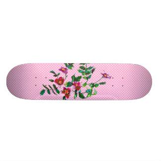 Vintage rose pink and white polka-dots skateboard