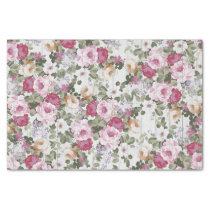 Vintage rose pink floral rustic white wood pattern tissue paper