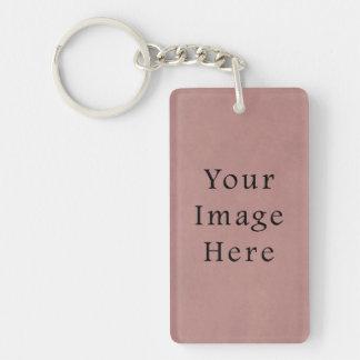 Vintage Rose Pink Lavender Parchment Paper Purple Keychain