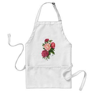 Vintage Rose Pink Peony Flowers Custom Monogram Adult Apron