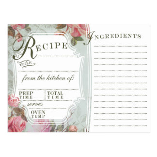 Vintage Rose Recipe Cards
