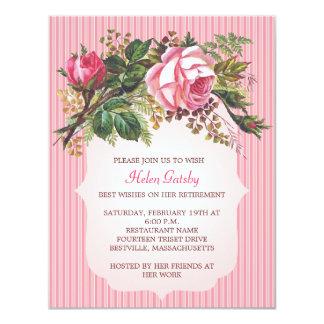 """Vintage Rose Retirement Formal 4.25"""" X 5.5"""" Invitation Card"""