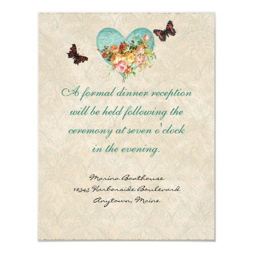 Vintage Rose Roses Butterfly Butterflies Swirls 4.25x5.5 Paper Invitation Card