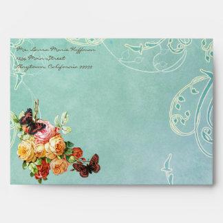 Vintage Rose Roses Butterfly Butterflies Swirls Envelope
