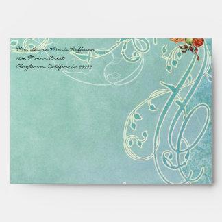 Vintage Rose Roses Butterfly Butterflies Swirls Envelopes