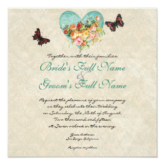 Vintage Rose Roses Butterfly Butterflies Swirls 5.25x5.25 Square Paper Invitation Card