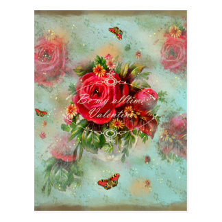 vintage, rose roses valentine valentinesday love postcard