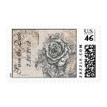 Vintage Rose Save the Date Postage Stamp